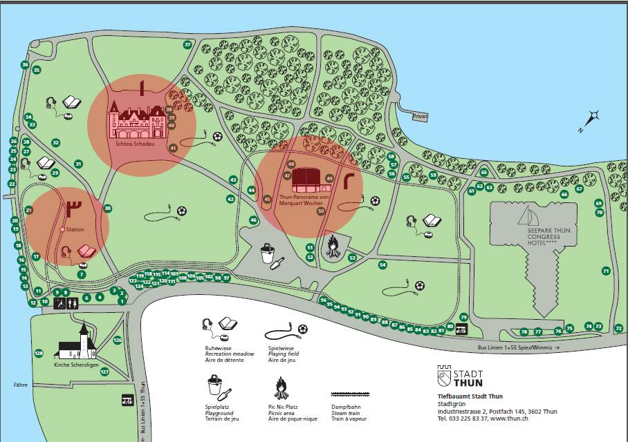 خريطة توضيحية (1) مطعم القلعة -- (2) بانوراما تون -- (3) القطار البخاري للأطفال
