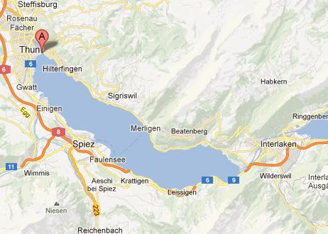 خريطة توضيحية لمكان حديقة شادو بارك في مدينة تون السويسرية